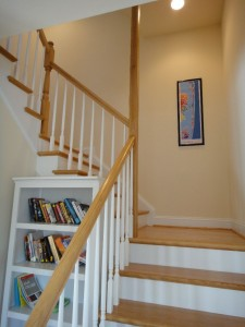 Bookshelf and stairwell
