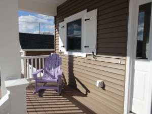 Front deck and purple adirondack
