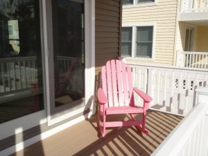 Front deck and pink adirondack